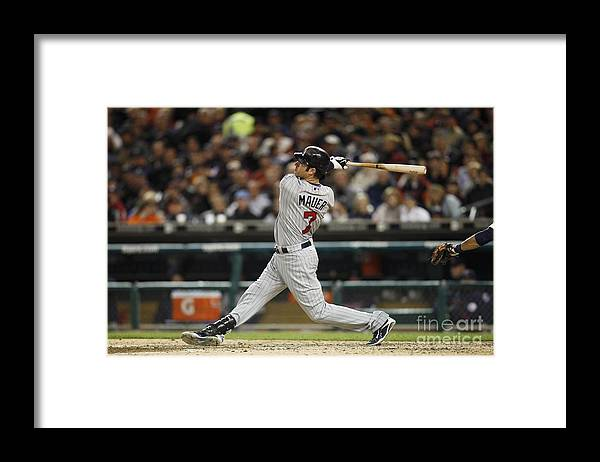 Joe Mauer Framed Print featuring the photograph Joe Mauer by Joe Robbins