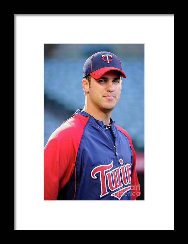 Baseball Catcher Framed Print featuring the photograph Joe Mauer by Kevork Djansezian