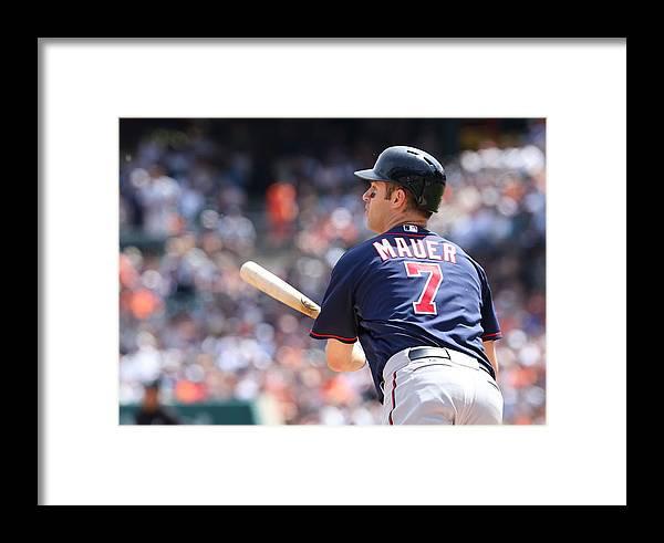 Joe Mauer Framed Print featuring the photograph Joe Mauer by Leon Halip