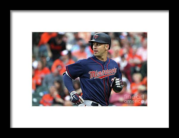 Looking Over Shoulder Framed Print featuring the photograph Joe Mauer by Patrick Smith