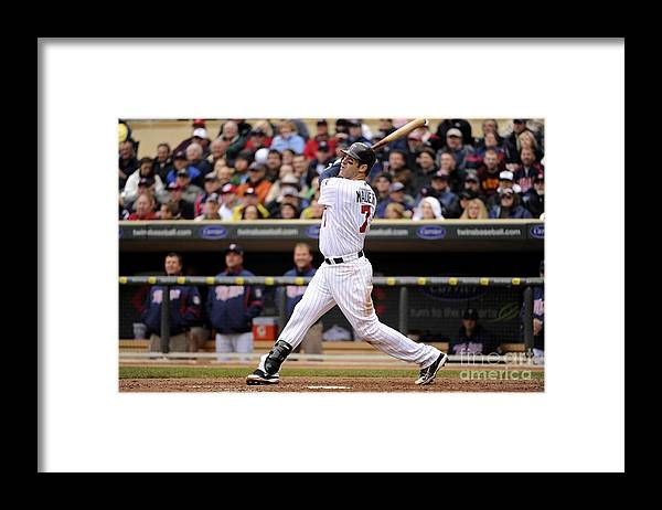 Joe Mauer Framed Print featuring the photograph Joe Mauer by Ron Vesely
