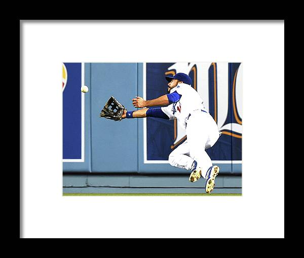Second Inning Framed Print featuring the photograph Joe Panik and Andre Ethier by Harry How