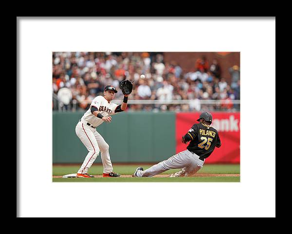 San Francisco Framed Print featuring the photograph Joe Panik and Gregory Polanco by Ezra Shaw