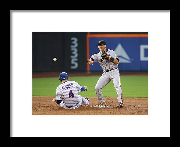 Double Play Framed Print featuring the photograph Joe Panik And Wilmer Flores by Al Bello