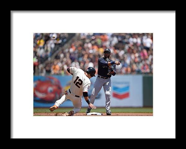 Double Play Framed Print featuring the photograph Joe Panik by Thearon W. Henderson