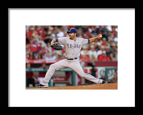 American League Baseball Framed Print featuring the photograph Joe Saunders by Stephen Dunn