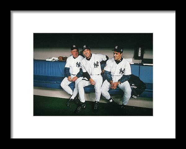 American League Baseball Framed Print featuring the photograph Joe Torre, Derek Jeter, and Don Zimmer by Rich Pilling