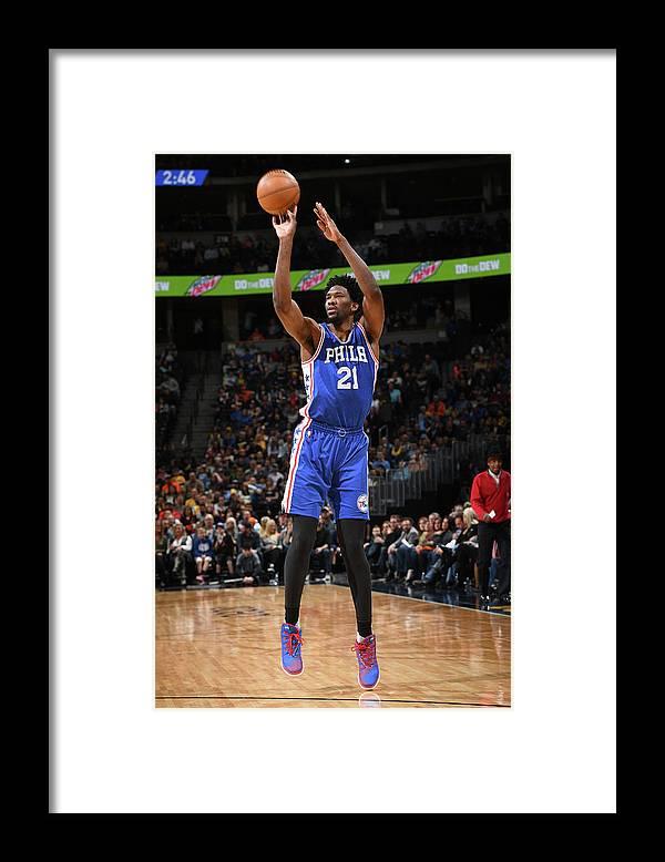 Nba Pro Basketball Framed Print featuring the photograph Joel Embiid by Garrett Ellwood