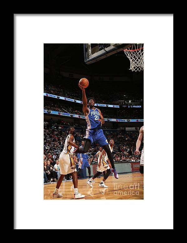 Smoothie King Center Framed Print featuring the photograph Joel Embiid by Layne Murdoch
