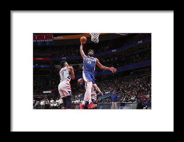 Playoffs Framed Print featuring the photograph Joel Embiid by Stephen Gosling