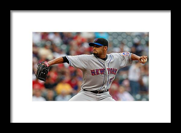 American League Baseball Framed Print featuring the photograph Johan Santana by Jared Wickerham