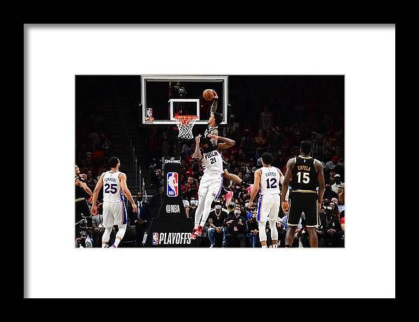Atlanta Framed Print featuring the photograph John Collins and Joel Embiid by Scott Cunningham