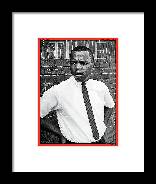 Rep. John Lewis Framed Print featuring the photograph John Lewis 1940-2020 by Steve Schapiro Getty Images