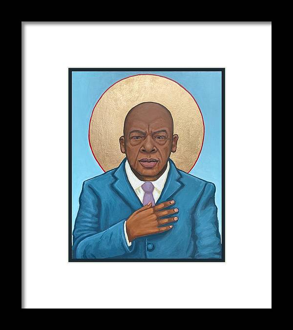 Framed Print featuring the painting John Lewis by Kelly Latimore