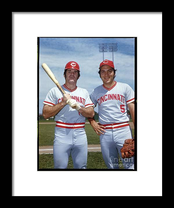 National League Baseball Framed Print featuring the photograph Johnny Bench and Pete Rose by Louis Requena