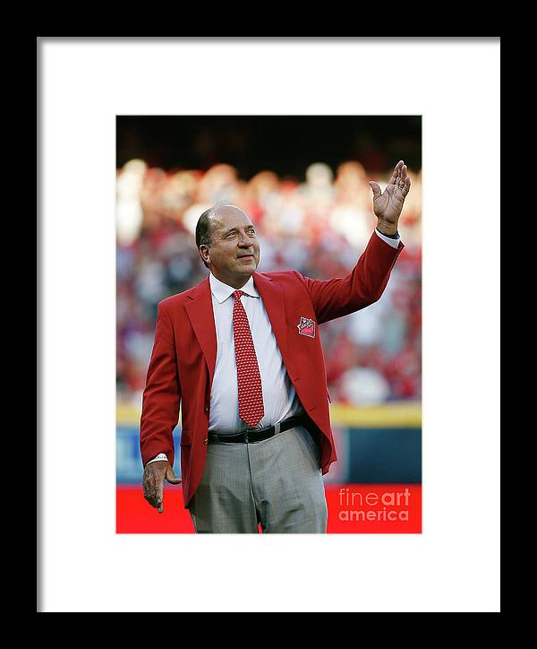 Great American Ball Park Framed Print featuring the photograph Johnny Bench by Rob Carr
