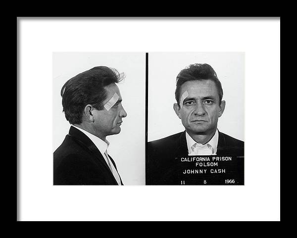 Johnny Cash Framed Print featuring the painting Johnny Cash Mug shot by Historical Photo