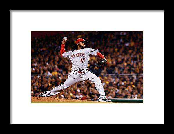 American League Baseball Framed Print featuring the photograph Johnny Cueto by Jared Wickerham