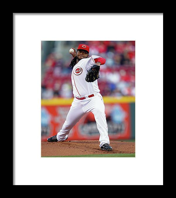 Great American Ball Park Framed Print featuring the photograph Johnny Cueto by Michael Hickey
