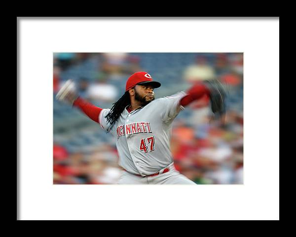 Three Quarter Length Framed Print featuring the photograph Johnny Cueto by Rob Carr
