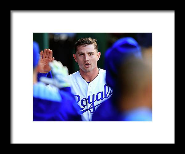 American League Baseball Framed Print featuring the photograph Johnny Giavotella by Jamie Squire