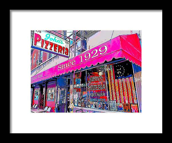 Johns Pizza Framed Print featuring the painting Johns Pizza New York by Bellino