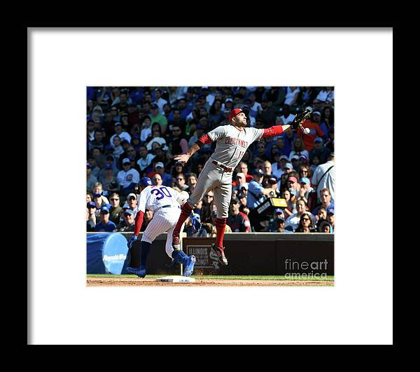 People Framed Print featuring the photograph Jon Jay and Joey Votto by David Banks