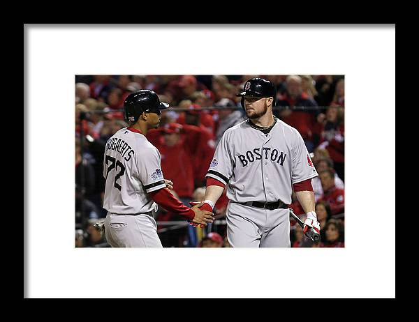 American League Baseball Framed Print featuring the photograph Jon Lester and Xander Bogaerts by Rob Carr