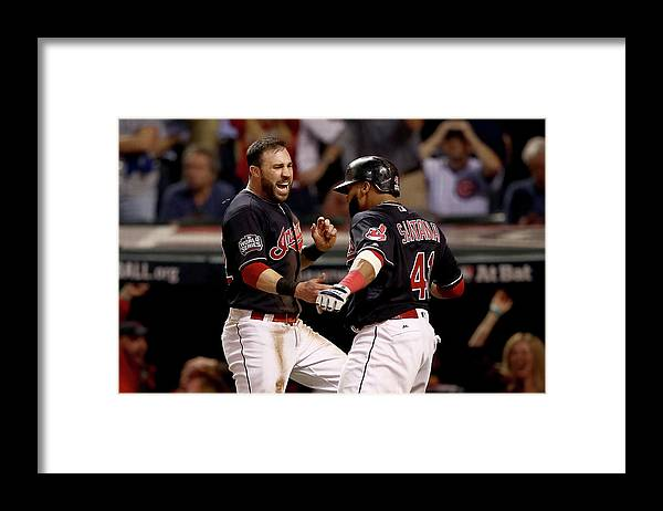 Three Quarter Length Framed Print featuring the photograph Jon Lester, Carlos Santana, and Jason Kipnis by Elsa