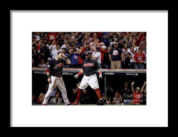 People Framed Print featuring the photograph Jon Lester, Carlos Santana, and Jason Kipnis by Ezra Shaw
