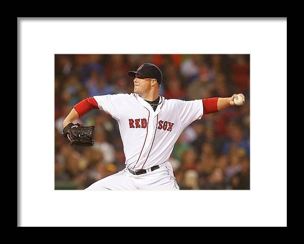 American League Baseball Framed Print featuring the photograph Jon Lester by Jim Rogash