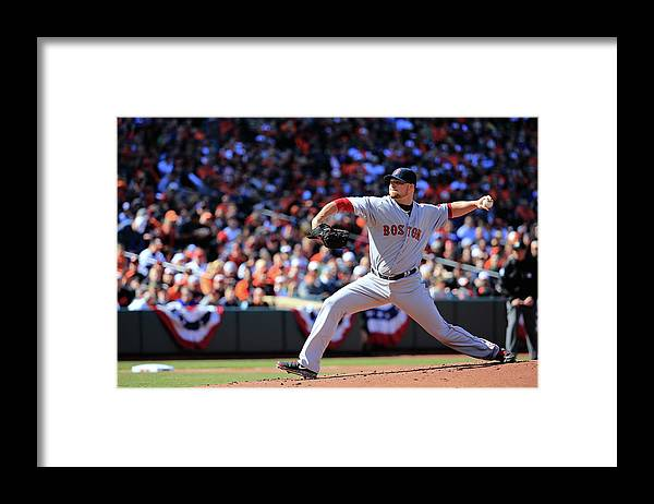American League Baseball Framed Print featuring the photograph Jon Lester by Rob Carr
