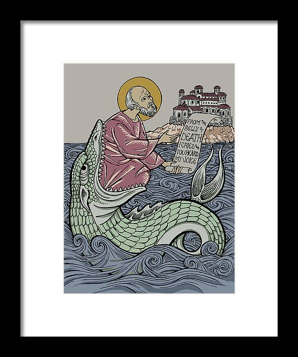 Jonah Framed Print featuring the drawing Jonah and The Sea Monster by Jonathan Pageau