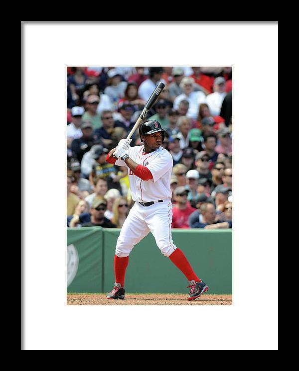 American League Baseball Framed Print featuring the photograph Jonathan Herrera by Darren Mccollester