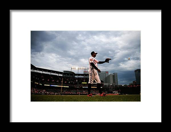 American League Baseball Framed Print featuring the photograph Jonathan Schoop by Rob Carr