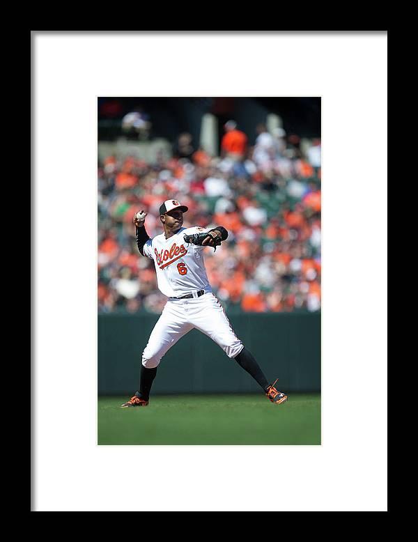 American League Baseball Framed Print featuring the photograph Jonathan Schoop by Rob Tringali