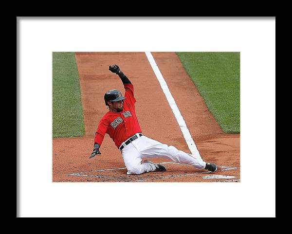 American League Baseball Framed Print featuring the photograph Jonny Gomes and Dustin Pedroia by Jim Rogash