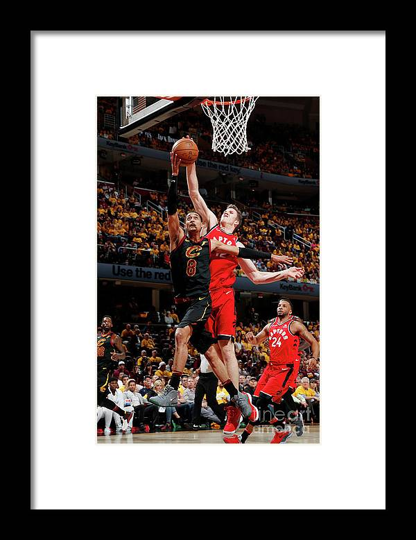 Playoffs Framed Print featuring the photograph Jordan Clarkson and Jakob Poeltl by Jeff Haynes