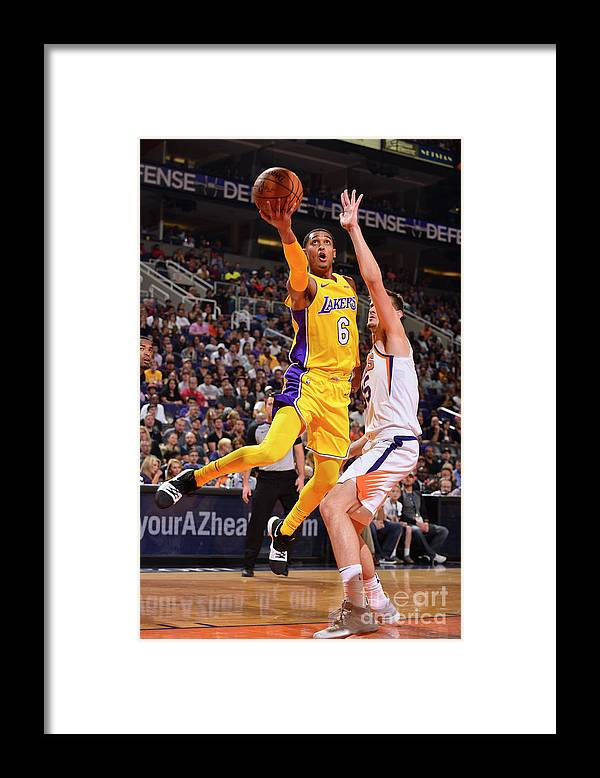 Nba Pro Basketball Framed Print featuring the photograph Jordan Clarkson by Barry Gossage