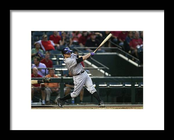 Second Inning Framed Print featuring the photograph Jordan Pacheco by Christian Petersen