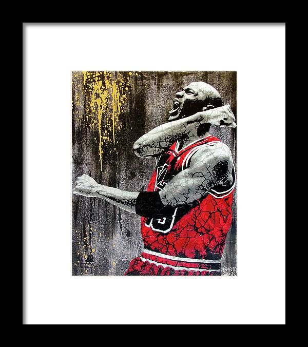 Michael Jordan Framed Print featuring the painting Jordan - The Best There Ever Was by Bobby Zeik