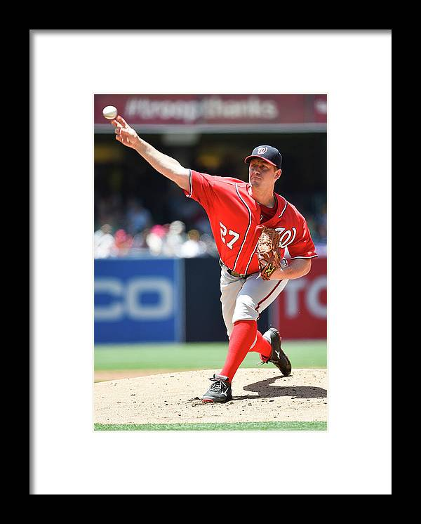 Second Inning Framed Print featuring the photograph Jordan Zimmermann by Denis Poroy