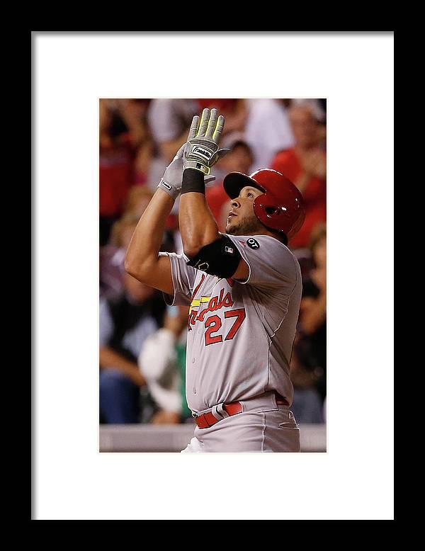 St. Louis Cardinals Framed Print featuring the photograph Jorge De La Rosa and Jhonny Peralta by Doug Pensinger