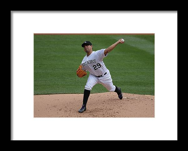 Jorge De La Rosa Framed Print featuring the photograph Jorge De La Rosa by Doug Pensinger