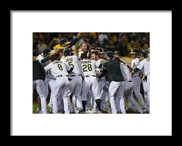 American League Baseball Framed Print featuring the photograph Josh Donaldson by Thearon W. Henderson
