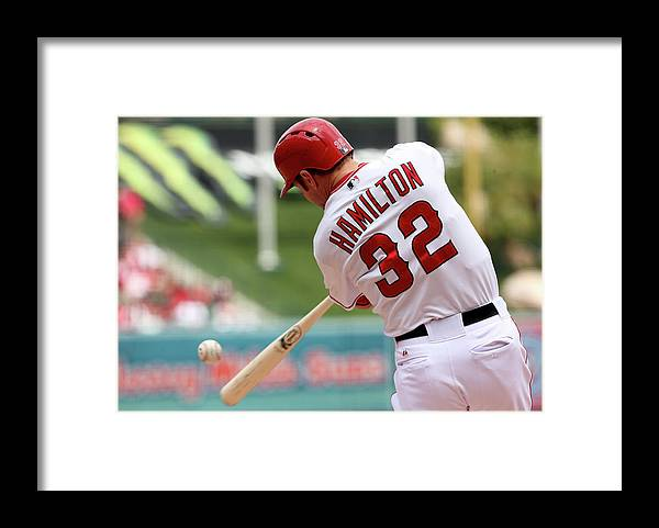 American League Baseball Framed Print featuring the photograph Josh Hamilton by Stephen Dunn