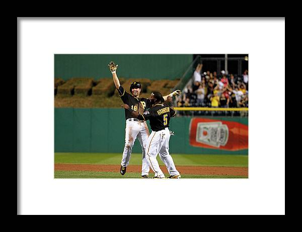 Ninth Inning Framed Print featuring the photograph Josh Harrison and Neil Walker by Justin K. Aller