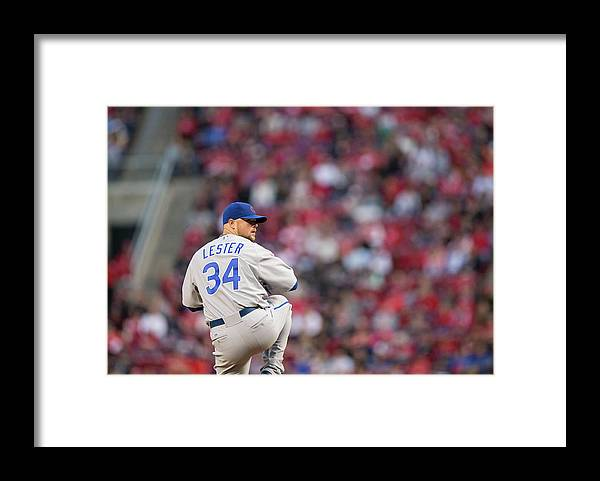 Great American Ball Park Framed Print featuring the photograph Josh Harrison, Jon Lester, and David Ross by Taylor Baucom
