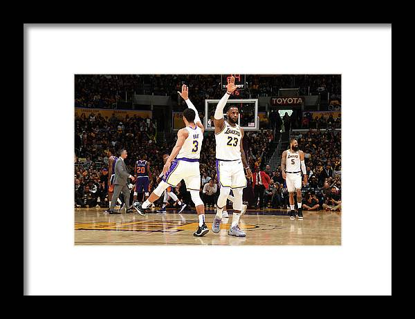 Nba Pro Basketball Framed Print featuring the photograph Josh Hart and Lebron James by Andrew D. Bernstein