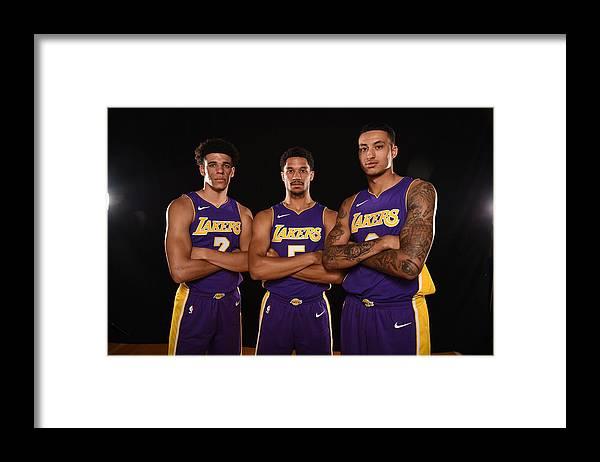 Nba Pro Basketball Framed Print featuring the photograph Josh Hart, Lonzo Ball, and Kyle Kuzma by Brian Babineau